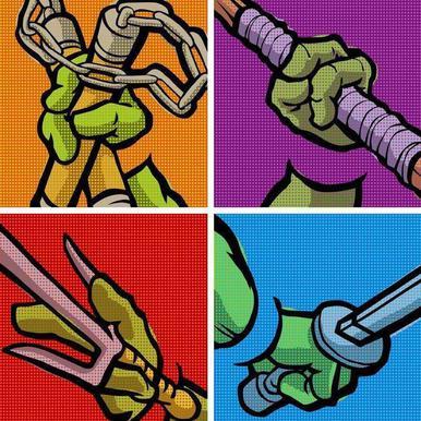 Lichtenstein Pop Martial Art Combo -Leinwandbild