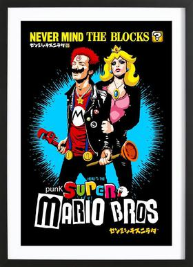 Punk Super Mario Bros - Never Mind the Blocks -Bild mit Holzrahmen