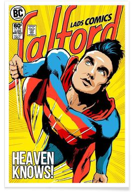 Post-Punk Comix- Super Moz - Heaven Knows -Poster