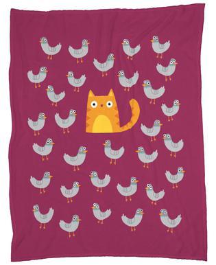 Cat Among the Pigeons Fleece Blanket
