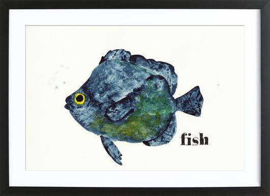 Fish affiche sous cadre en bois