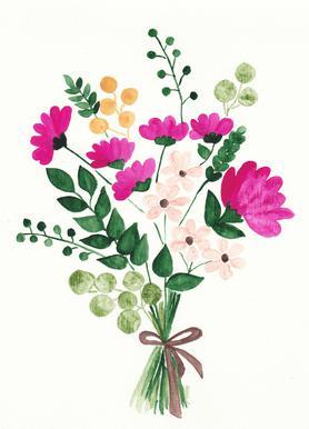 Bouquet canvas doek