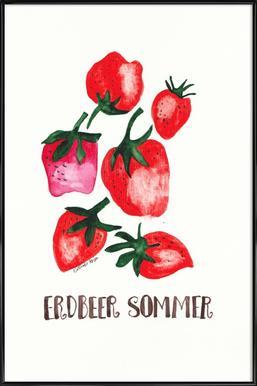 Erdbeer Sommer ingelijste poster