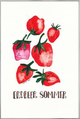 Erdbeer Sommer Poster in Aluminium Frame