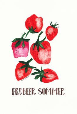 Erdbeer Sommer Aluminium Print