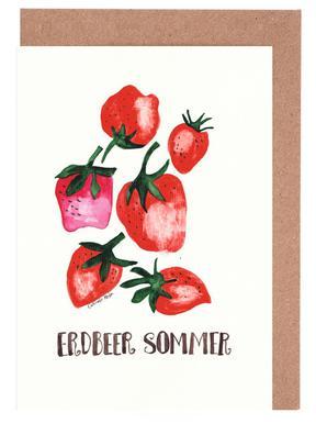 Erdbeer Sommer wenskaartenset