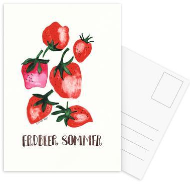 Erdbeer Sommer Postcard Set