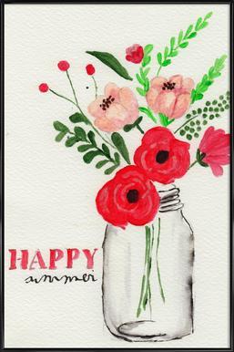 Happy Summer -Bild mit Kunststoffrahmen
