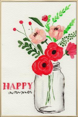 Happy Summer -Poster im Alurahmen
