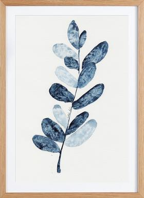Blue Plant - Poster in Wooden Frame