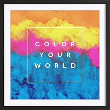 Color Your World -Bild mit Holzrahmen