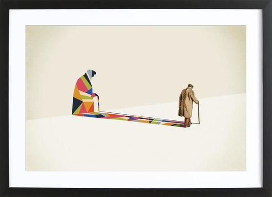 Walking Shadow - Old Man Framed Print
