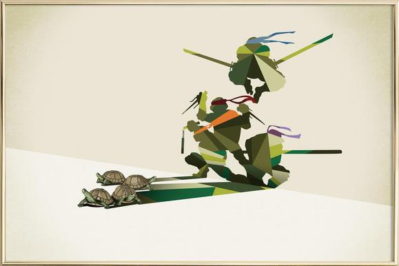 Walking Shadow - Turtles Poster in Aluminium Frame