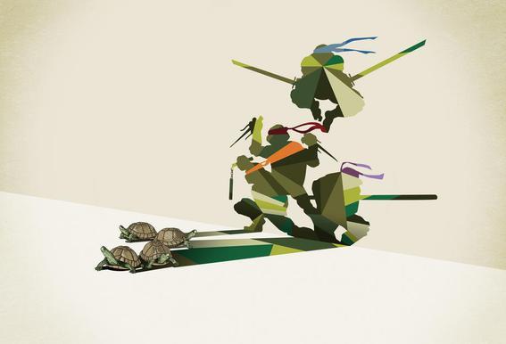 Walking Shadow - Turtles Acrylic Print