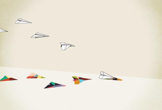 Walking Shadow - Paper Planes alu dibond