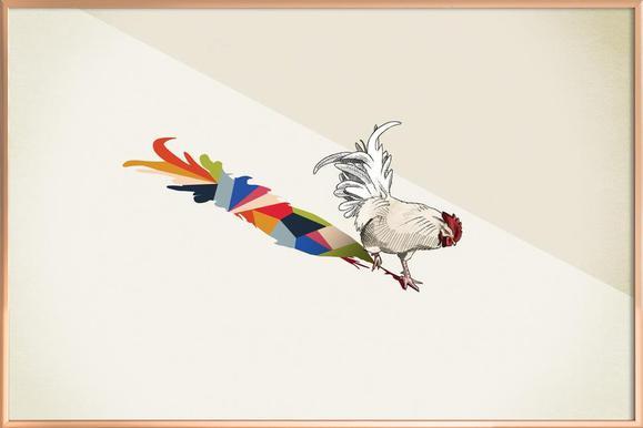 Walking Shadow - Rooster poster in aluminium lijst