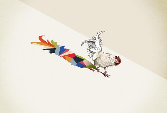 Walking Shadow - Rooster -Acrylglasbild