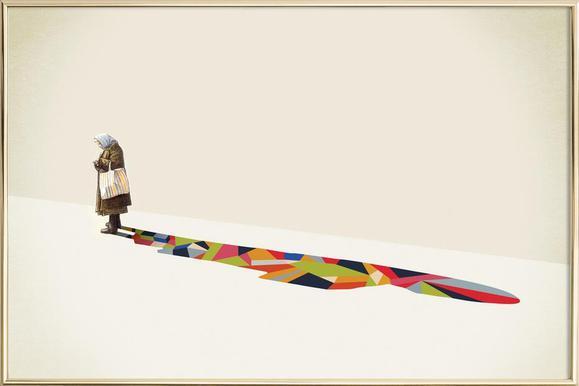 Walking Shadow - Old Woman poster in aluminium lijst