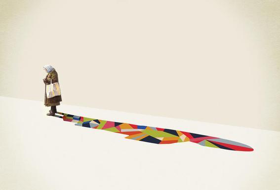 Walking Shadow - Old Woman -Acrylglasbild