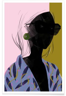 Girl in a Blue Kimono Poster