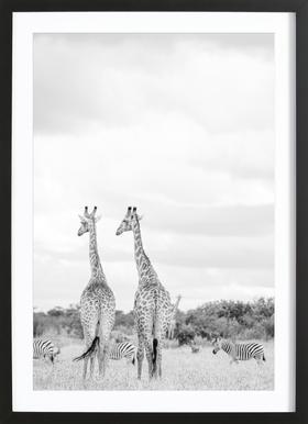 Giraph couple -Bild mit Holzrahmen