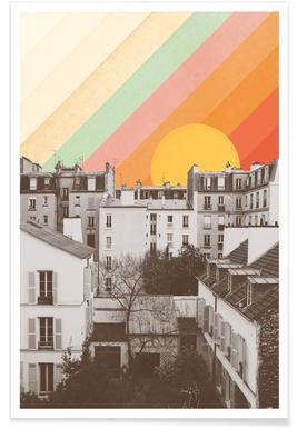 Rainbow Sky Above Paris poster
