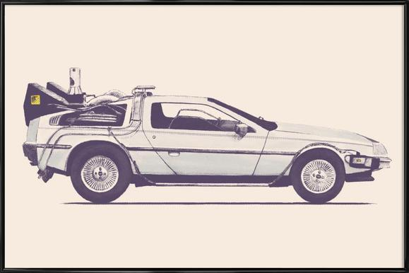 Delorean - Back to the Future - Affiche sous cadre standard