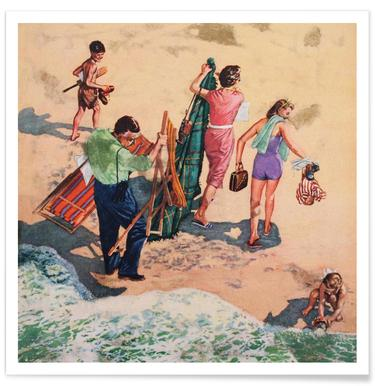 Family at the Seaside Poster