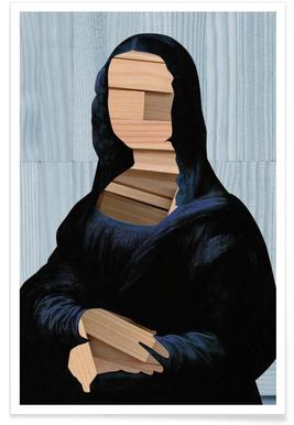 Mona Lisa – blue shining WoodCut Collage Plakat