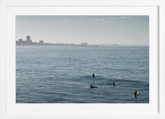 Early Morning Surfer's Bliss - Poster im Holzrahmen