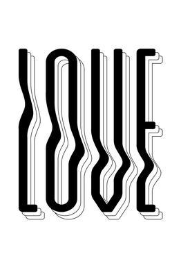 Love Wavy Aluminium Print