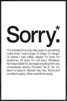 Sorry* (Black) ingelijste poster