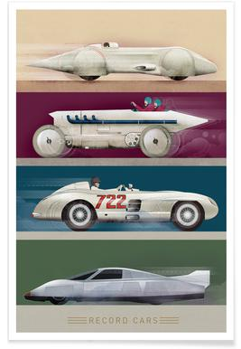 Vintage Record Cars Poster