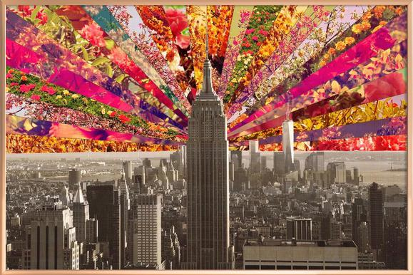 Blooming NY poster in aluminium lijst