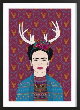 Deer Frida -Bild mit Holzrahmen