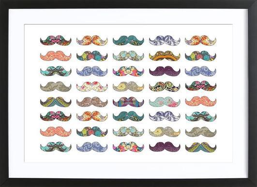 Mustache Mania -Bild mit Holzrahmen