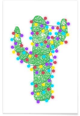 Festive Cacti - Lights On Poster