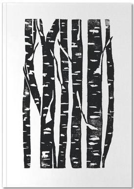 Woodcut Birches Black Notebook