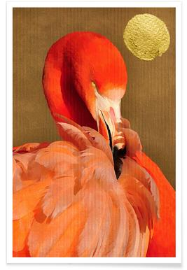Flamingo with Golden Sun Poster
