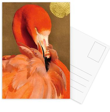 Flamingo with Golden Sun Postcard Set