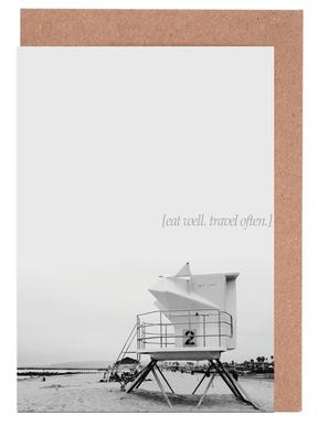 Eat Well Travel Often Greeting Card Set