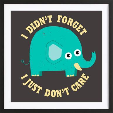 An Elephant Never Cares -Bild mit Holzrahmen