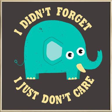 An Elephant Never Cares Poster in Aluminium Frame