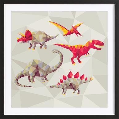 Geo Saurs Framed Print