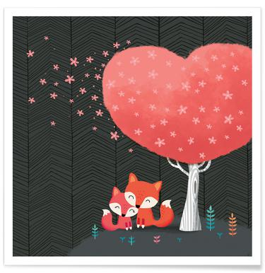 Foxes with Blossom Poster