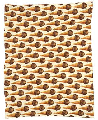 Chocolate Scoop Pattern Fleece Blanket