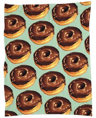 Chocolate Donut Pattern -Teal -Fleecedecke