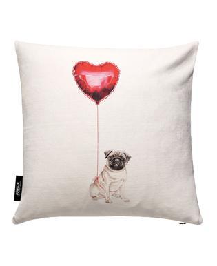 Pug & Balloon Cushion Cover