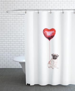 Pug & Balloon Shower Curtain