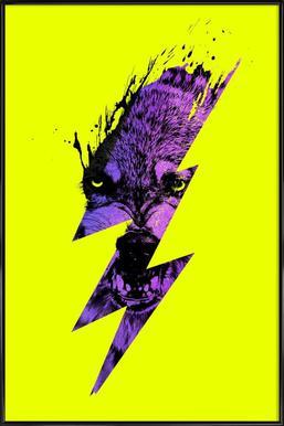 Thunderwolf -Bild mit Kunststoffrahmen